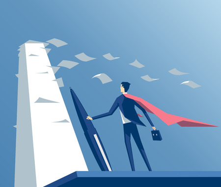 Super businessman standing with a pen in front of big stack of papers,wind blows the pages and the cape, business concept paper work Ilustração