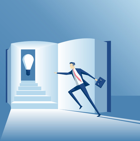 Business concept of knowledge and a new idea, the employee runs up the stairs in the book to find an idea Illustration