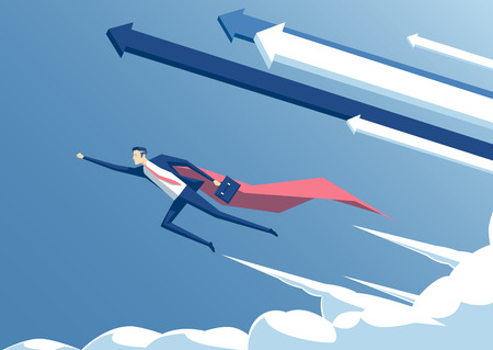 illustration businessman hero or super employee flying in the sky with arrows and clouds, business concept success and professionalism