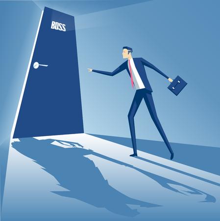 jefe enojado: El concepto de negocio de temor de las autoridades, un empleado está de pie en la puerta del jefe, el jefe es fuus y se convierte en un hombre lobo, monstruo jefe Vectores