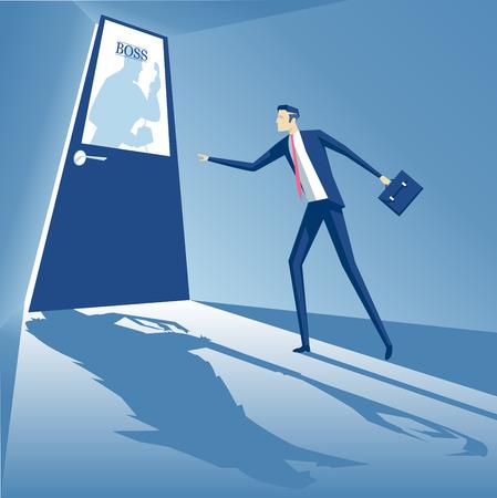 Patron criant dans le téléphone et un employé est debout à la porte, et peur d'aller à l'intérieur, le concept d'affaires monstre boss, concept d'entreprise peur des supérieurs