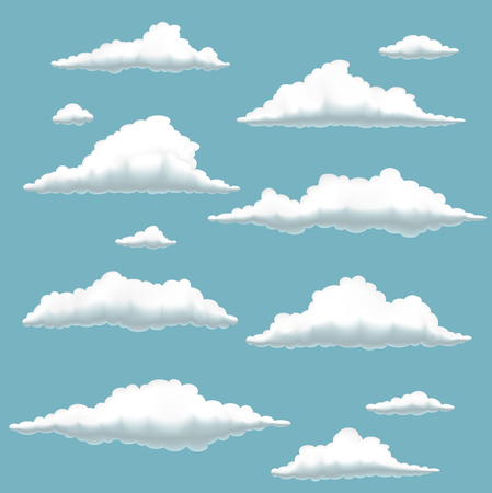cartoon wind: set of clouds on blue background,  illustration of cartoon clouds in blue sky