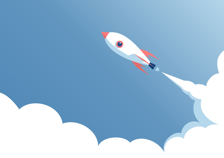 cartoon rocket flying in the blue sky, space ship launch on a blue background, startup concept