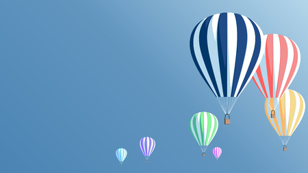 air sport: Multicolored hot air balloons in the blue sky