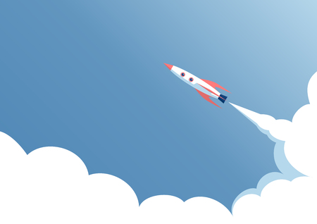spacecraft: spacecraft flight against the blue sky, the start of space ship on a blue background, startup concept Illustration