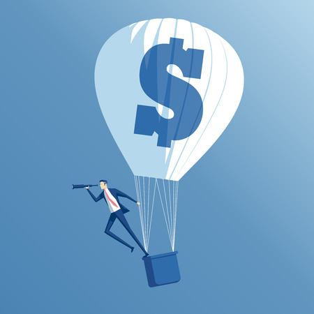 searching: business concept searching, growth and investment, a businessman in hot air balloon looking through a telescope Illustration