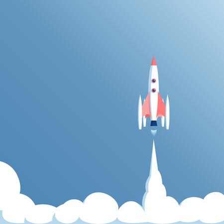 spacecraft: illustration launch spaceship in a blue sky, spacecraft takeoff, startup concept Illustration