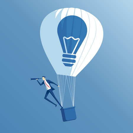 big idea, growth and search business concept, a businessman on hot air balloon looking through a spyglass