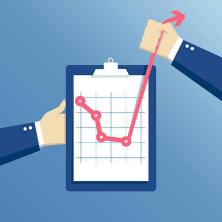 effort: business concept of crisis and crisis exit, effort at a critical moment, hands holding clipboard with graph, concept going beyond the limits of the possible