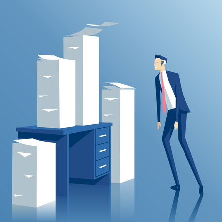 paper work: business concept paper work, a tired businessman looking at the office desk with stacks of paper, tired employee looks at the pile of papers on his table