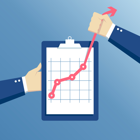 effort: business concept growth, effort and going beyond, hands holding clipboard with graph, hand holds a curve graph Illustration
