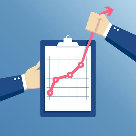 crecimiento concepto de negocio, esfuerzo e ir más allá, las manos que sostienen el sujetapapeles con el gráfico, mano sostiene un gráfico de la curva