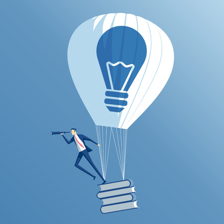 Business concept education and idea, an employee with  idea and books flying in hot air balloon on blue sky background