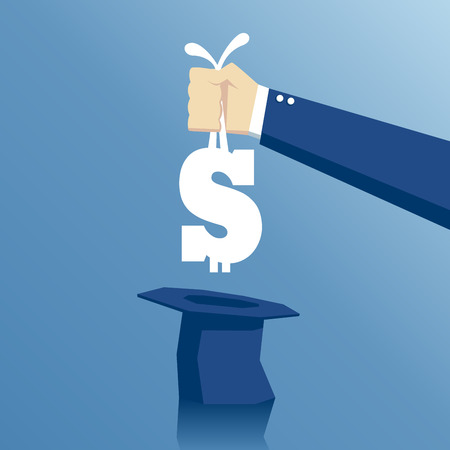 La mano se retira de sombrero de un signo de dólar como un conejo, el concepto de éxito del negocio y el dinero fácil