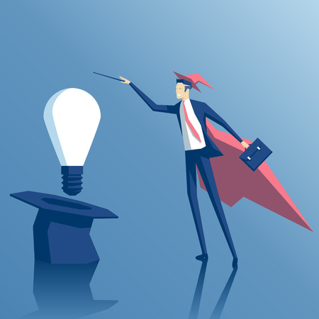 Businessman wizard gets idea out of a hat, Businessman magician creates the idea of using magic Illustration