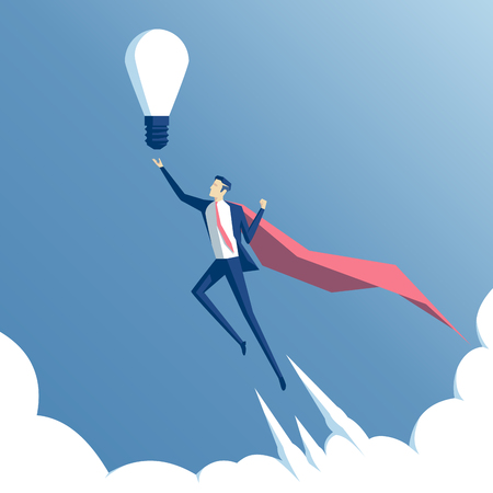 business concept and the idea of success. Businessman hero flying above the clouds with idea Illustration