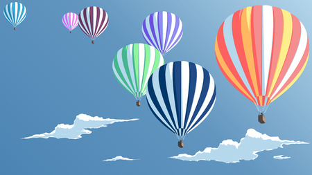 Hot air balloons in the blue sky with clouds, bottom view, illustration set of hot air balloons Illustration