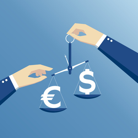 exchange rate: business concept exchange rate, hands holding the scales and weighed the dollar and euro flat design Illustration