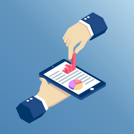 isometric  hand holds the pnone and pulls from it a bar graph, isometric design infographic on smartphone with hands, business concept web analytics Illustration
