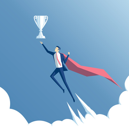 originator: business concept success and mastery, a businessman superhero flying through the clouds to the cup