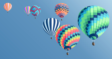 Multi-colored hot air balloons floating in the sky, colorful hot air balloons collection