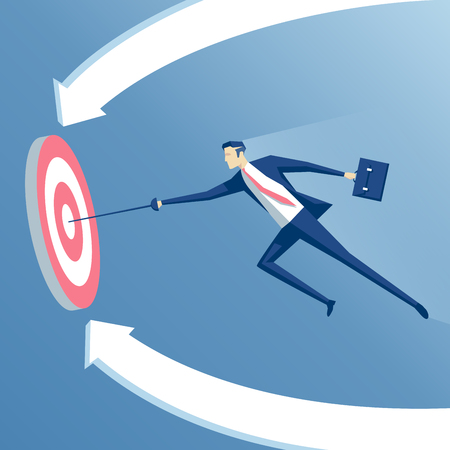 business concept success and goal, businessman with a sword hits the center of the target, employee with a rapier flies  to the target Illustration
