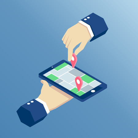 geolocation: Isometric phone and GPS mobile navigation, isometric hands holding smartphone with mark on the map Illustration