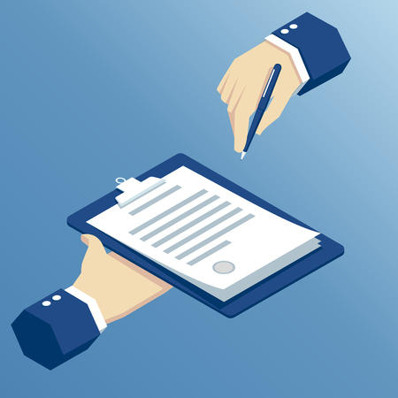 contract signing: isometric hands sign a contract, signing agreement business concept, isometric hand takes the contract to sign