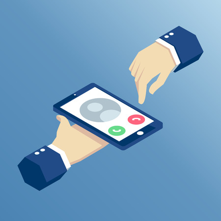incoming call on isometric mobile phone, isometric hands holding smart phone vector illustration