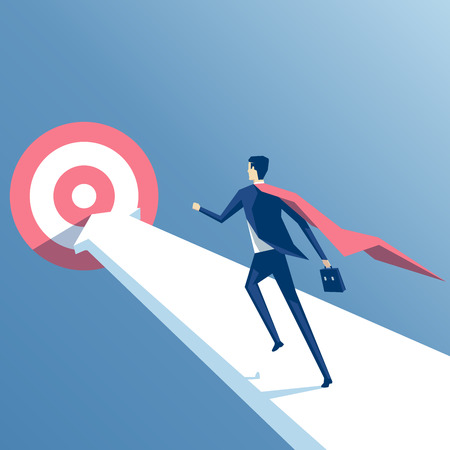 Super businessman running towards the goal, business superhero rushing on the arrow to the target, business concept goal and success