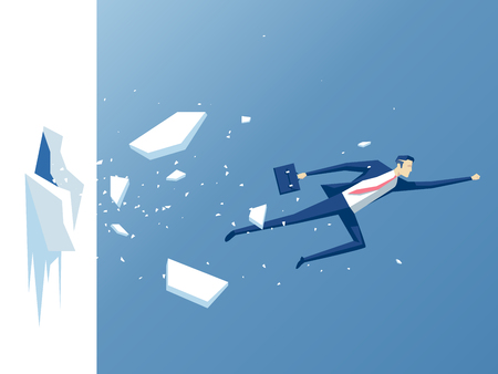 obstruction: businessman breaks the wall, employee flies through the wall or barrier, business concept effort and success
