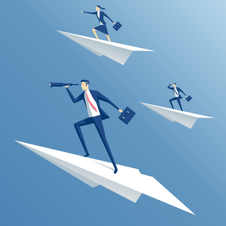 businessman flying on a paper airplane and looking through a telescope, business people flying on paper planes Illustration