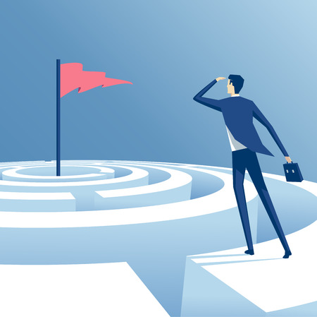 achieving: businessman looking for a way to reach the goal through the maze, employee tries to pass the labyrinth, business concept of overcoming challenges and achieving goals Illustration