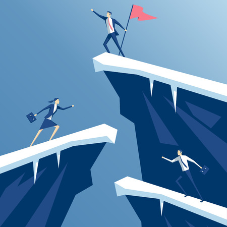 reached: businessman first reached the summit of the mountain with a flag, business people competing in mountain climbing. employees run on the rocks to the flag, business concept win and competition Illustration