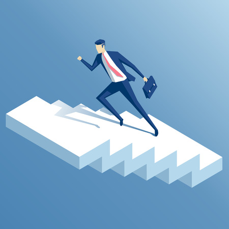 businessman run up the stairs isometric vector illustration, an employee climbs up the stairs, business concept growth and the path to success Illusztráció