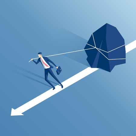 businessman pulling a big stone or rock isometric vector illustration, business concept of hardship and burden