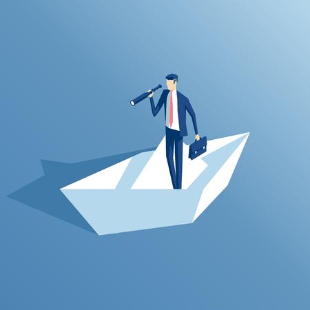 hombre de negocios isométrico con un telescopio flota en un barco de papel. búsqueda de concepto de negocio y el riesgo de ilustración vectorial
