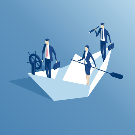 Business people are floating on a paper boat on the sea isometric illustration. Business concept teamwork and leadership Illustration
