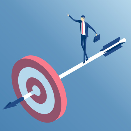 accuracy: businessman standing on the arrow hit the target. the employee goes to the center of the target, an arrow released from a bow. the business concept of accuracy and purpose