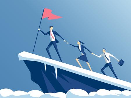 personas de negocios suben a la cima de la montaña, líder ayuda al equipo a subir el acantilado y alcanzar la meta, concepto de negocio de liderazgo y trabajo en equipo