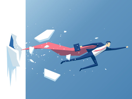 obstruction: Super businessman punches the wall, employee superhero flying through the wall,  business concept power,  success and overcome difficulties Illustration