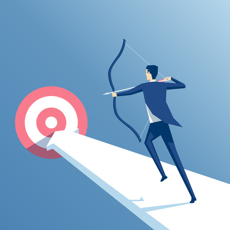 businessman to aim at a target archery, employee runs on the arrow to the goal, manager shoots from a bow at a target Illustration