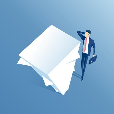 homme d'affaires surpris regardant grande pile de papiers, un employé confus regardant ce grand pile de documents, concept d'entreprise charge de travail et de la paperasserie
