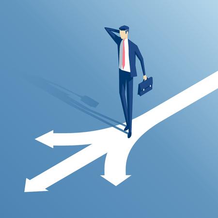 verwirrt Geschäftsmann an einer Kreuzung isometrische Darstellung stehen, Unternehmer vor der Pfeile als Symbol stehen für Wahl, Karriereweg oder Möglichkeiten, Business-Konzept Entscheidung