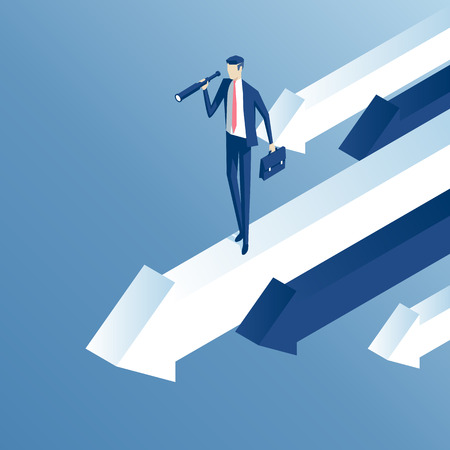 Isometric businessman with telescope stands on moving forward arrow. Business concept search capabilities and good direction Illustration