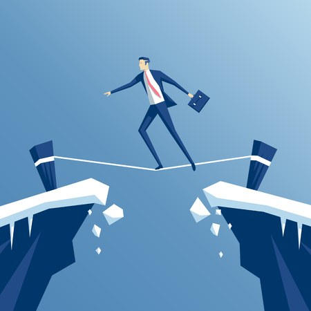 tightrope walker: businessman tightrope walker is walking a tightrope across the gap in the rocks, an employee is walking a tightrope between two cliffs, business concept risk