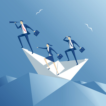heavy risk: business people floating on the waves on a paper boat, team  on a paper ship in heavy sea, business concept teamwork and risk Illustration