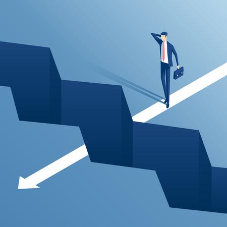 uomo d'affari in piedi sul bordo del baratro e non il coraggio di continuare il percorso, un dipendente è sul bordo del gap e pensare come superarla, concetto di business sfida e ostacolo