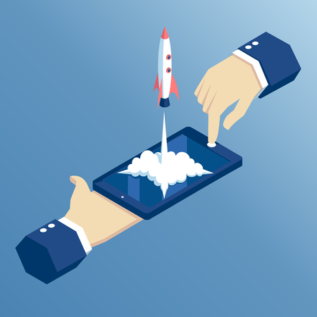 launch of a mobile application is an isometric illustration. takeoff rocket or spacecraft over the mobile phone. hands holding smartphone with which the spaceship starts, isometric concept startup
