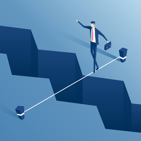 isometric businessman is walking a tightrope across the gap in the earth, employee of the tightrope walker is walking a tightrope over the abyss, business concept challenge and the risk